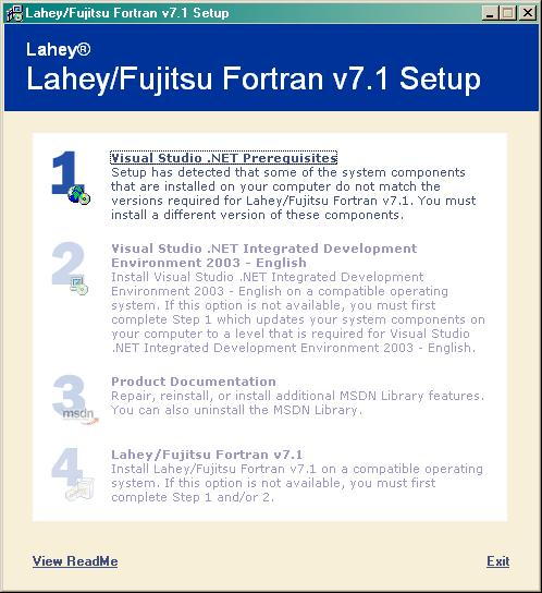 Installing LF Fortran with Visual Studio  NET